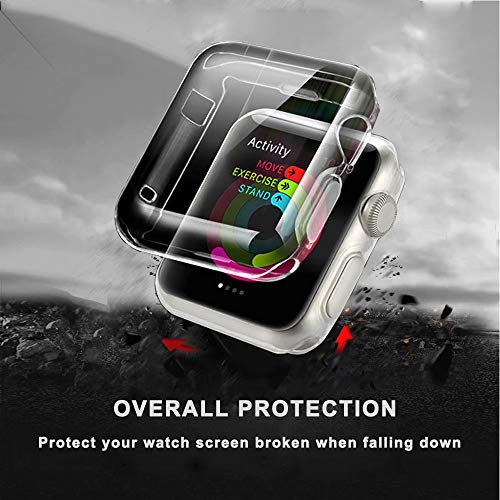 QIENGO Compatible with Apple Watch Band with Case 38MM, Soft Nylon Strap with Silicone Screen Protector Replacement for iWatch Sport Series 3/2 / 1 (Pinksand, 38mm) by QIENGO (Image #6)