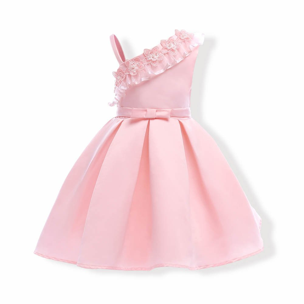 Girls Summer Casual Dress Sleeveless Vintage Print Swing Party Dresses Birthday Gift (130#, Pink)