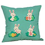 18'' x 18'' Happy Easter Throw Pillow Covers Rabbit Eggs Cartoon Printed Pillowcases Spring Holiday Bunny Cushion Cases for Home Decor Colored Creative Design Decoration (C)