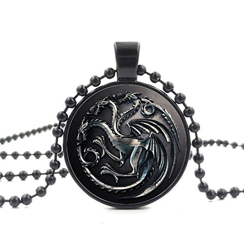 [Game of Thrones Inspired Necklace Black Glass Cabochon Charm (Targaryen Dragon)] (Pop Art Inspired Costumes)