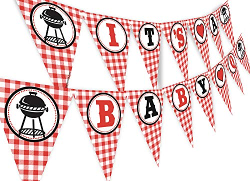 (POP parties Baby Q Banner - BBQ Baby Shower Banner - Red Gingham Shower Banner)