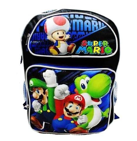 Super Mario Bros mochila - Cheer Up/azul | 16 in grande mochila escolar: Amazon.es: Oficina y papelería