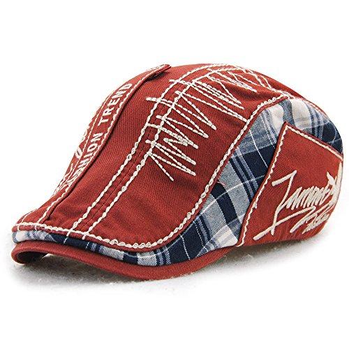 Cotton Ivy Hat - FayTop Men's Cotton Flat Cap newsboy IVY Irish Cabbie Scally Cap Cabbie Driving Caps Hats E90-red