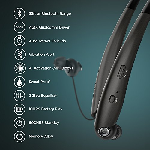 Legato Bluetooth Headphones Neckband Retractable Bluetooth Headset Wireless  Headphones Earbuds (Tireless Fit) aptX Audio/Noise Isolation/AI Voice