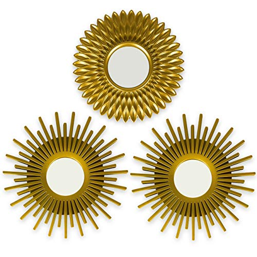 BONNYCO Espejos Pared Decorativos Dorados Pack 3 Espejos Decorativos Ideales para Decoracion Casa, Habitacion y Salon | Espejos Redondos Pared Regalos Originales para Mujer | Decoracion Pared
