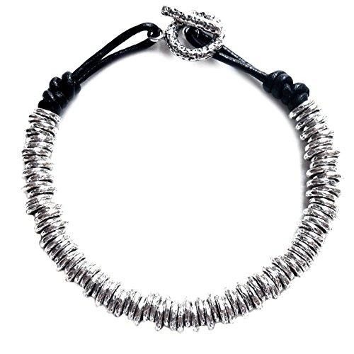 Kham Men's Handmade Genuine Black Leather Knot Cord 925 Sterling Silver Oxidized Hoop Stack Bead Bracelet (9)