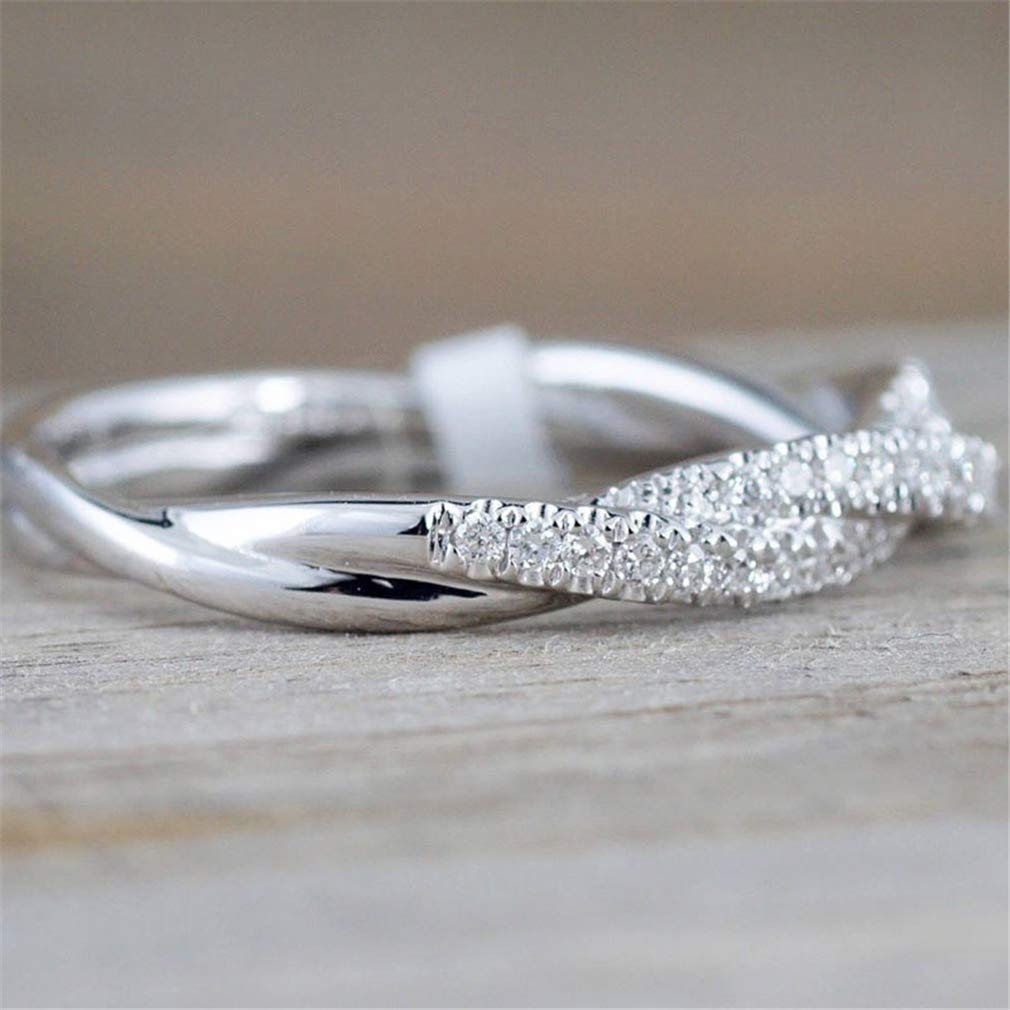 TraveT Twisted Shape Crystal Ring for Women Bridal Engagment Wedding Ring Fashion Rhinestone Wedding Band Party Jewelry Size 5-11,Silver 7