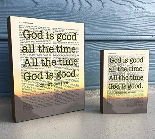 God Is Good All the Time - 2 Corinthians 9:8 Vintage Bible Verse Scripture Art Print on Wooden Block, Christian Sunset Home & Wall Decor Sign Gift