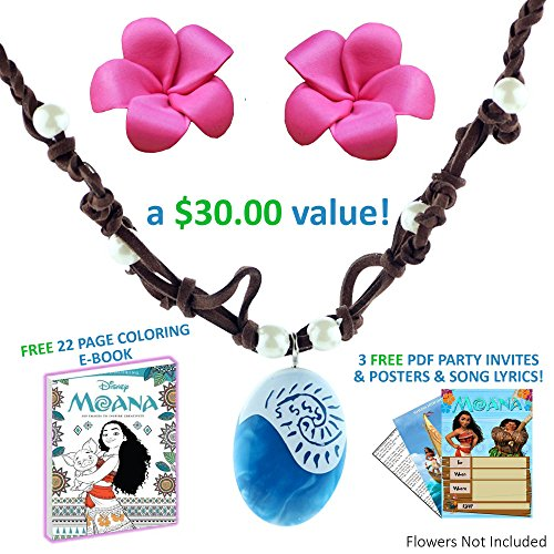Barbie Dress Up Costumes For Adults (MOANA NECKLACE: Disney Movie Costume Accessory Bundle: Coloring Pages + Posters + Invites)