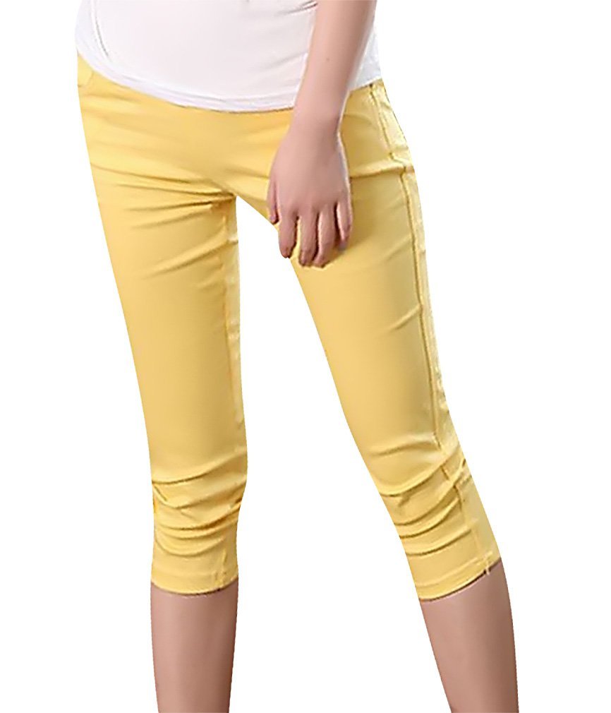 MTRNTY Women's Maternity High Elastic Waist Stylish Capris Tight Skinny Pants Yellow X-Large