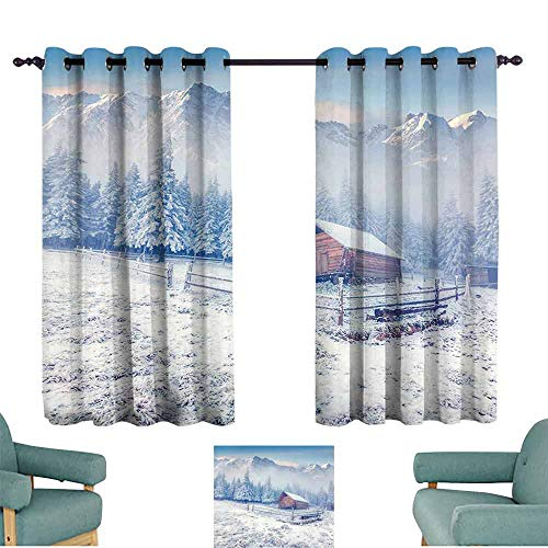 SONGDAYONE Winter Soundproof Curtain Old Farmhouse in Snow Season Mountains and Frosted Forest Rustic Life Photography Room Darkened (2 Panels,W72 xL63)