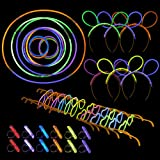 466-Pack Glow Stick Party Supplies for Birthdays, Raves, Carnival and New Years - Includes Headbands, Glasses Frames, Rings and Sticks Glowing in the Dark - Various Colors