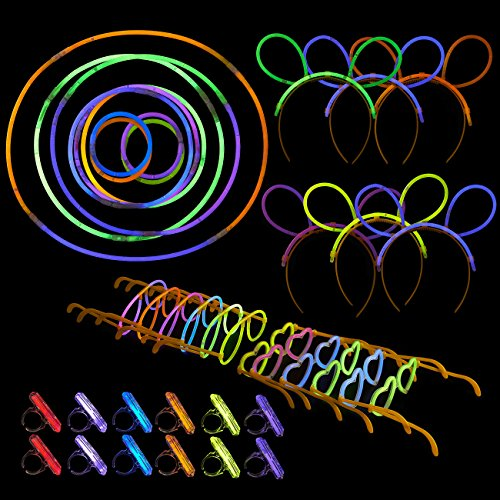 466-Pack Glow Stick Party Supplies for Birthdays, Halloween, Carnival - Includes Headbands, Glasses Frames, Rings and Sticks Glowing in the Dark - Various (Glow Run Outfits)