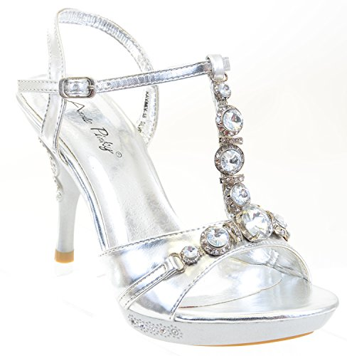 Chunky Jewelled Bling Crystals Heels Formal Plataforma Sandalias Plata