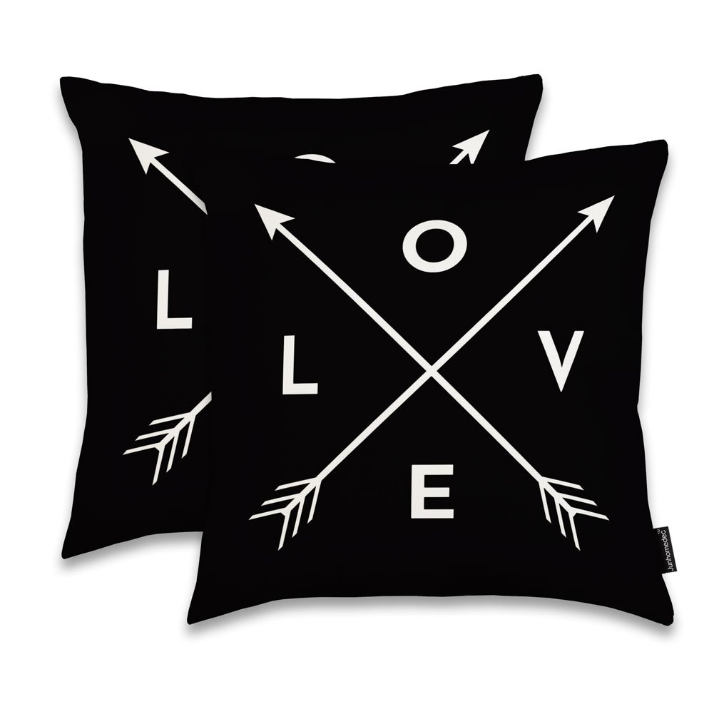 JUNHOMEDEC LOVE Arrows Throw Pillow Sham Cushion Cover Case Home Decorative Throw Pillowcase Pillow case for Sofa Couch Bed Square 18'' - (Set of 2) Zippered (YIJIE20180202-167)