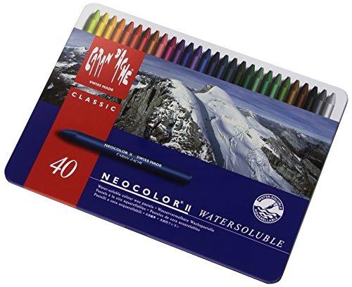 Caran d'Ache Classic Neocolor II Water-Soluble Pastels, 40 Colors