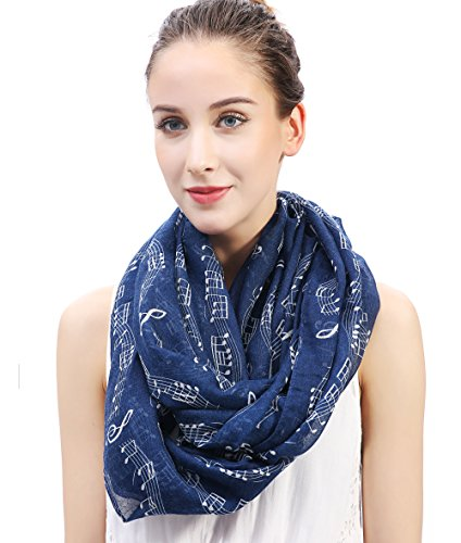 Lina & Lily Women's Musical Notes Print Infinity Loop Scarf (Navy (Best Music Teachers)