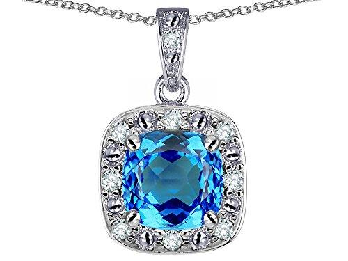 Star K 14k White Gold Cushion Blue Topaz Halo Pendant Necklace