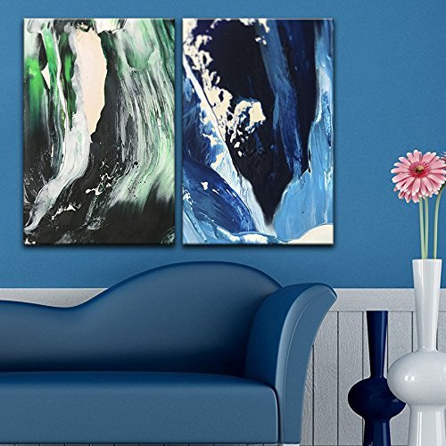 2 Panel Abstract Green and Blue Color Composition Gallery x 2 Panels