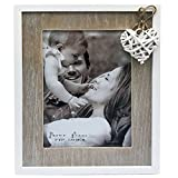 5x7'' Distressed Wooden Photo Frame in Natural Wood and Off White With a Heart Detail. Contemporary Love Collection. A Delicate Choice Perfect for a Birthday or Anniversary. Photo Size 5x7