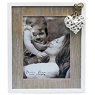 "5x7"" Distressed Wooden Photo Frame in Natural Wood and Off White With a Heart Detail. Contemporary Love Collection. A Delicate Choice Perfect for a Birthday or Anniversary. Photo Size 5x7 - Single opening picture frame. Recommended for a picture size 5-inch by 7-inch Heart detail. Distressed wooden look in natural wood and off white. A shabby chic, contemporary style. Easel back stand - picture-frames, bedroom-decor, bedroom - 517kxrStZFL. SS400  -"