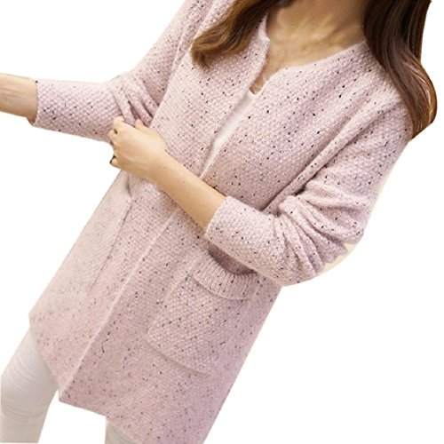 Mchoice Autumn Winter Women Cotton Elastic Twist Knitted Pullovers (Pink)
