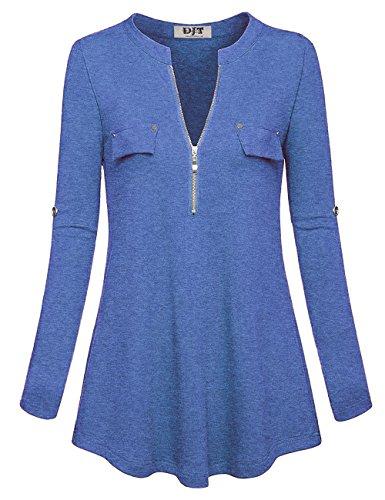 Bleu Chemise Shirt Zipp Tunique Djt Femmes T Top Manches Blouse Longues qvx4gwU7