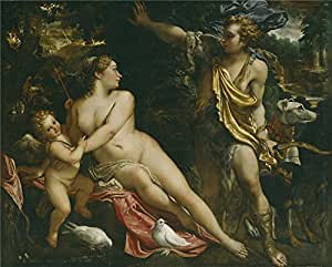 Oil painting 'Carracci Annibale Venus Adonis and Cupid Ca. 1590 ' printing on Perfect effect canvas , 16 x 20 inch / 41 x 51 cm ,the best Home Theater gallery art and Home artwork and Gifts is this High Resolution Art Decorative Prints on Canvas