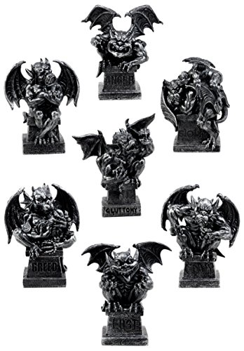 Ebros Gift Allegorical Image Of The Seven Deadly Sins Gargoyle Figurine Set of 7 Cardinal Sin Gargoyles Sculptural Decor Review