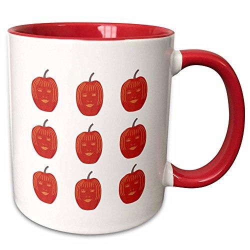 3dRose CherylsArt Holidays Halloween - Painting of a carved female face on Halloween pumpkin pattern - 15oz Two-Tone Red Mug (mug_165767_10) -