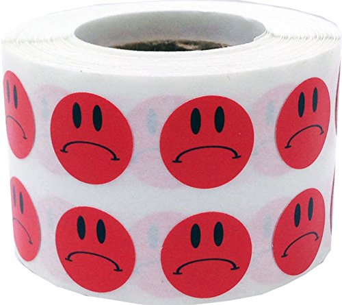 Sad Face Stickers Red Sad Face Labels 0.50 Inch 1,000 Total Adhesive Stickers