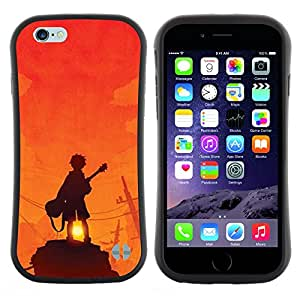 "Hypernova Slim Fit Dual Barniz Protector Caso Case Funda Para Apple (5.5 inches!!!) iPhone 6 Plus / 6S Plus ( 5.5 ) [Guitarrista Sunset Roca Naranja""]"