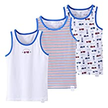 CHUNG Little Big Boys Toddlers Super Soft Cotton Tank Tops Undershirts 3 Pack 2-9Y