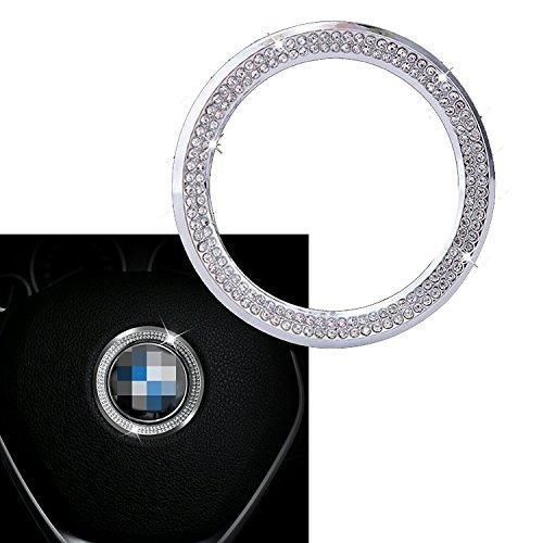 (Xotic Tech 1 Piece Steering Wheel Logo Decoration Ring Sticker for BMW 1 3 5 Series x3 x5 x6 2013-2015, 3D Bling Diamond Rhinestone Car Interior Trim Decal)