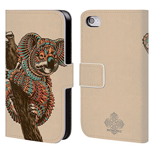 official-bioworkz-ornate-koala-coloured-wildlife-1-leather-book-wallet-case-cover-for-apple-iphone-4