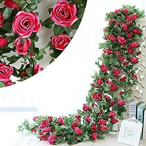 DerBlue 3 Pcs 22.5 Feet Artificial Rose Vine Flowers Plants Artificial Flower Hanging Rose Ivy Home Hotel Office Wedding Party Garden Craft Art Décor 38