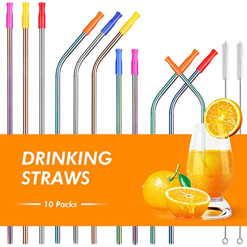 Lunlida Stainless Steel Straws, Reusable Metal Drinking Straws for 20 30 OZ Yeti Tumbler, RTIC, Tervis, Ozark Trail, Starbucks, Mason Jar with Silicone Tips ( Set of 10)