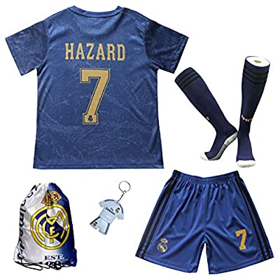 GamesDur 2019/2020 Real Madrid Hazard #7 Away Third Soccer Kids Jersey & Short & Sock & Soccer Bag Youth Sizes