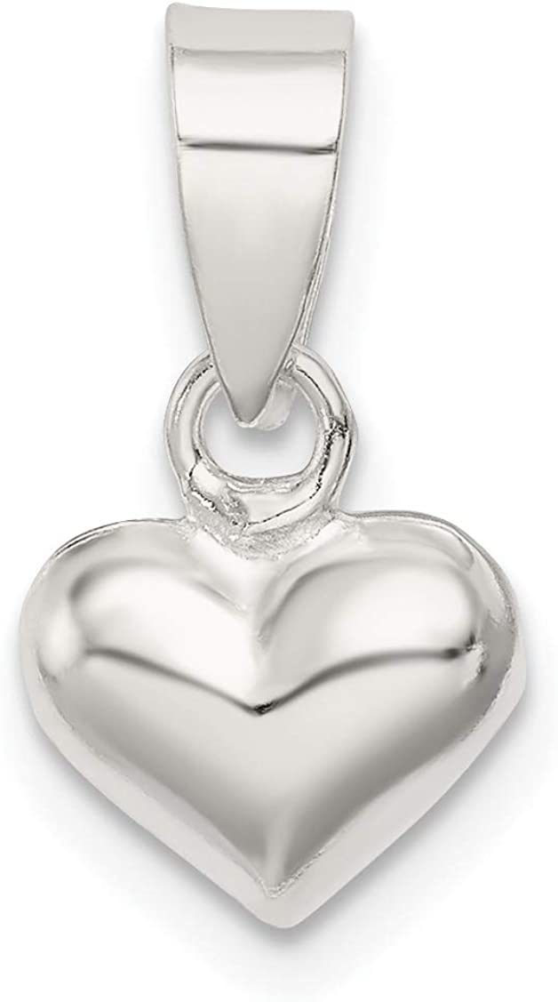 approximately 16 x 10 mm Mireval Sterling Silver Puff Heart Pendant