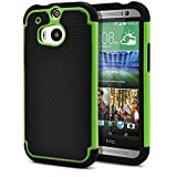 HTC One M8 Case, MagicMobile® Rugged Durable Impact Resistant Shockproof Double Layer Cover Hard Armor Shield Shell and Soft Flexible Silicone Case for HTC One 8 Color: Black - Green [Compatible Only with HTC One M8]
