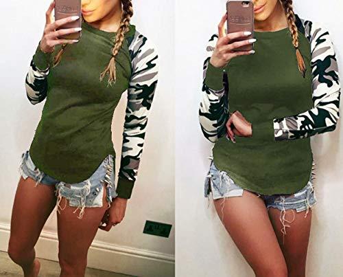 Maglie Tee Bluse e Army Fashion T Shirt Moda Top Camicie Cime Manica Sweatshirt Lunga Jumper Sottile Primavera Donna Girocollo a Green Casual Autunno Cucitura Simple Camuffamento STqBxww