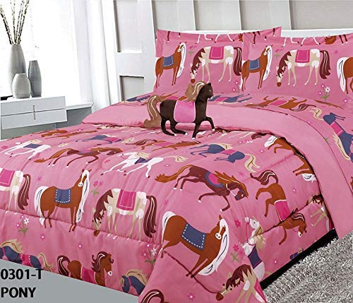 Golden Linens Kids Bed-in-Bag Printed Multicolor Light Pink, Brown Little Girls Pony Horses Design Full Size Comforter, Sheet Set with Pillow Cushion Toy # 8 Pcs Pony