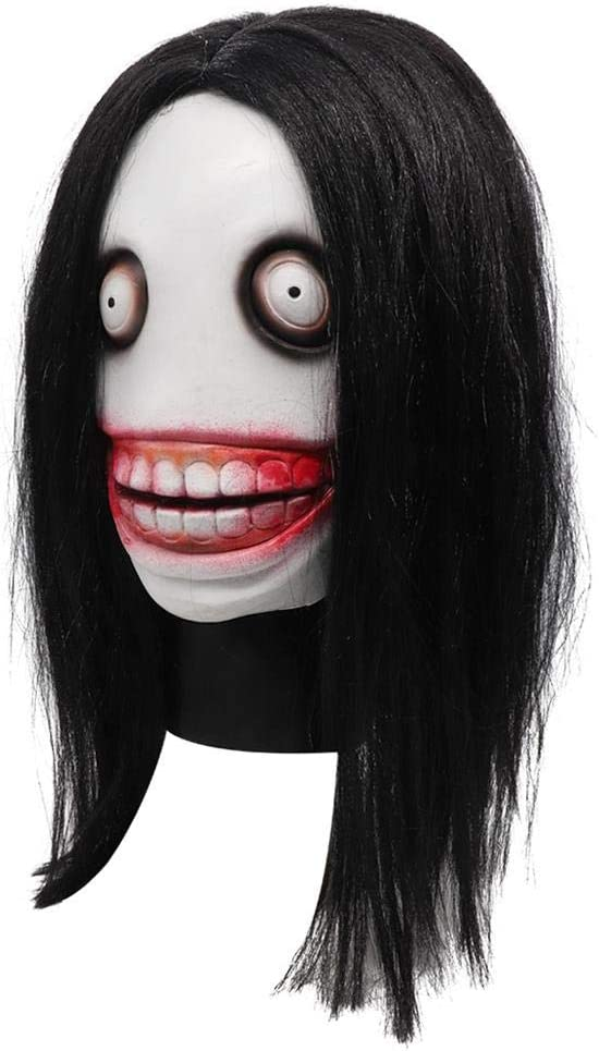 Halloween Horror Mask,Killer Jeff Mask Full Head Latex Mask with Hair Role Play Mask for Halloween Ghost Festival Dress Cosplay Mask Adult