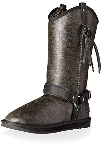 Australia Luxe Collective Women's Long Sheepskin Boot with Harness & Fringe, Distressed Black, 38 M EU/7 M US