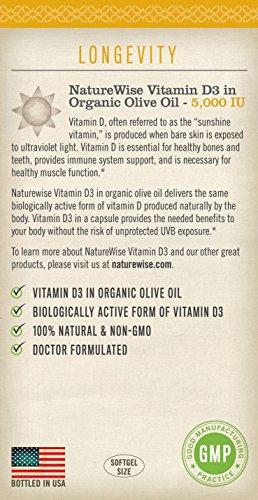 NatureWise Vitamin D3 5,000 IU in Organic Olive Oil, Non GMO, USP Grade