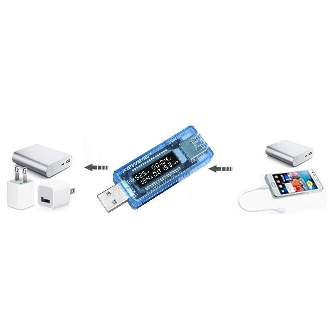 LouiseEvel215 Mini port/átil Pantalla LCD de 0.91 Pulgadas Capacidad del Cargador USB Potencia Corriente Voltaje Detector Probador Mult/ímetro