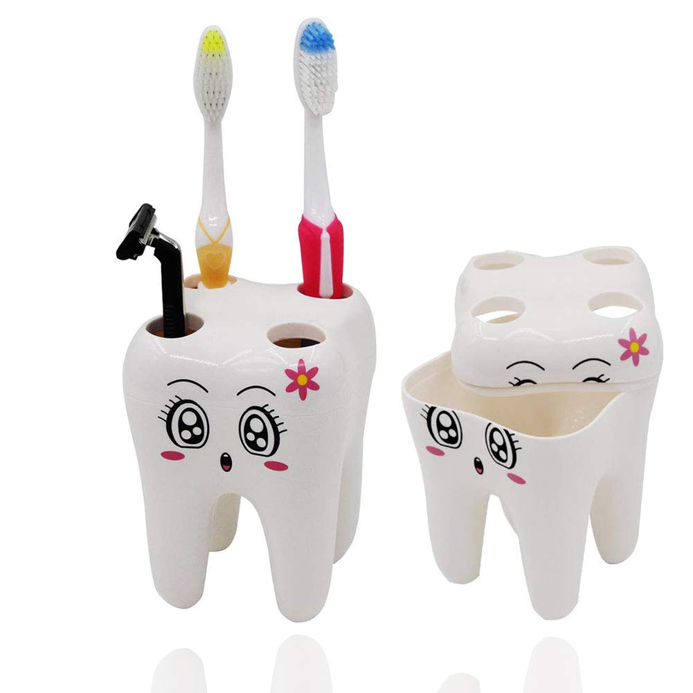 ixaer Kids Toothbrush Holder Cute Tooth Shaped Novelty Child Bathroom Toothpaste Stand Large Holes for Toothbrush Razor Lovely Bathroom Decorations Gift for Your Children