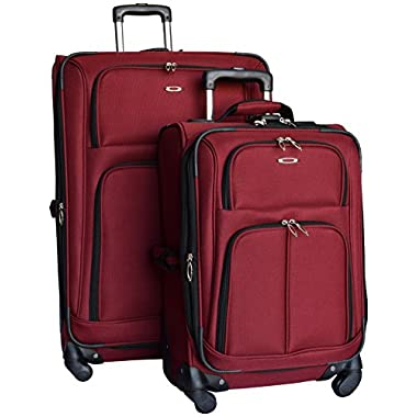 Kemyer 1000 2 Piece Set of Expandable Spinner Luggage - 29  and 21  (Burgundy)