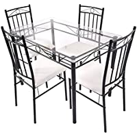 Tangkula 5 Piece Glass Top Metal Dining Set Kitchen Breakfast Furniture