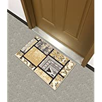 Kapaqua Rubber Backed Mat 18 x 31 Grey & Ivory Fancy Patchwork Doormat Accent Non-Slip Rug - Rana Collection Kitchen Dining Living Hallway Bathroom Pet Entry Rugs RAN2074-12